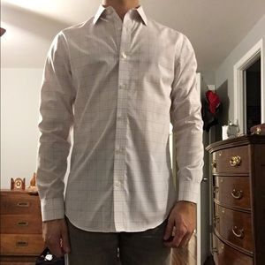 Men's Banana Republic White Striped Dress Shirt M
